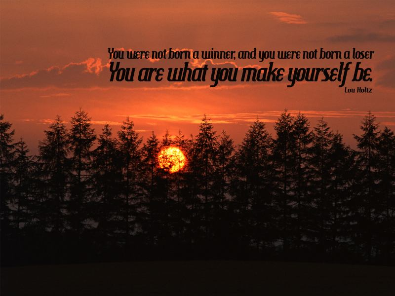 You were not born a winner, and you were not born a loser. You are what you make yourself be. – Lou Holtz